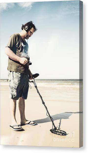 Electronic Instruments Canvas Print - Man With Metal Detector On Beach by Jorgo Photography - Wall Art Gallery
