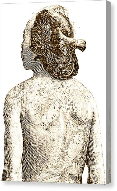 Male Nude Art Canvas Print - Man With Traditional Japanese Irezumi Tattoos by Japanese School