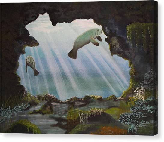 Underwater Caves Canvas Print - Manatee Cave by Kris Crollard