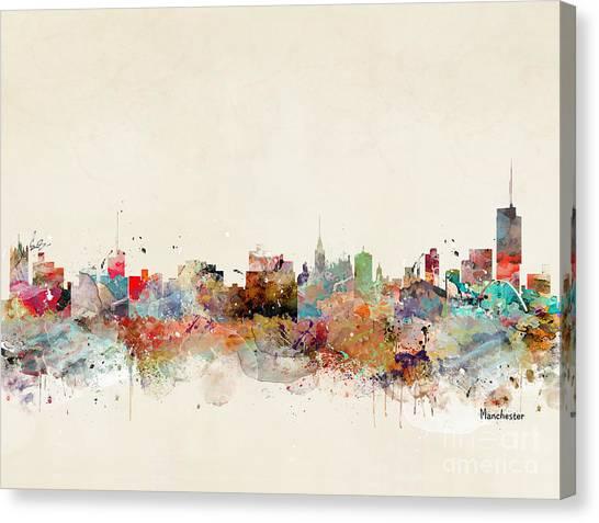 Manchester United Canvas Print - Manchester City Skyline by Bri Buckley
