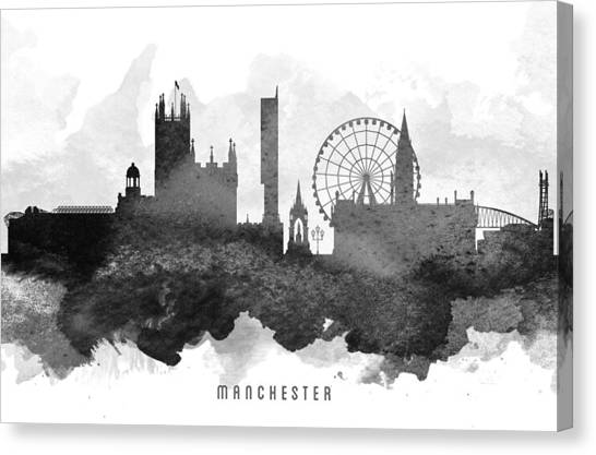 Manchester United Canvas Print - Manchester Cityscape 11 by Aged Pixel