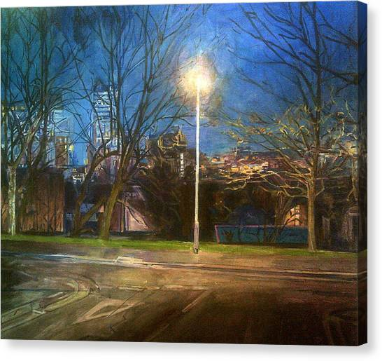 Manchester Street With Light And Trees Canvas Print