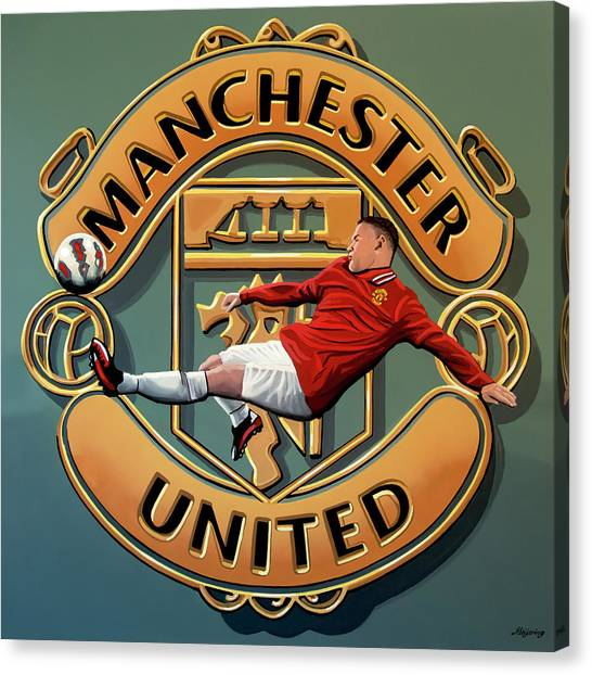 Soccer Players Canvas Print - Manchester United Painting by Paul Meijering