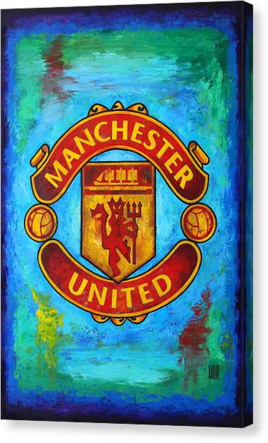 Soccer Leagues Canvas Print - Manchester United Vintage by Dan Haraga