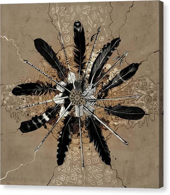 Mandala Arrow Feathers Canvas Print
