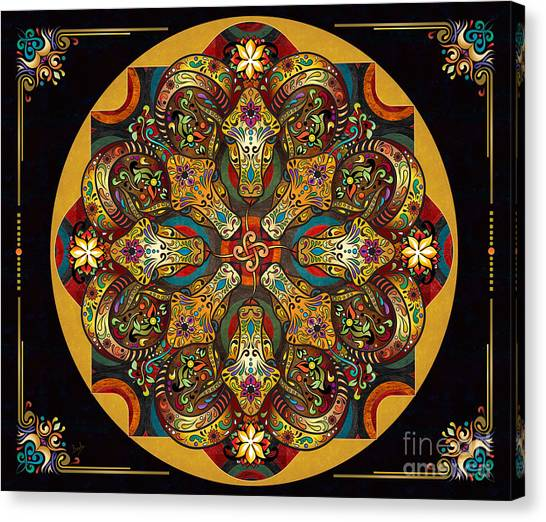 Archeology Canvas Print - Mandala Sacred Rams - Dark Version Sp by Peter Awax