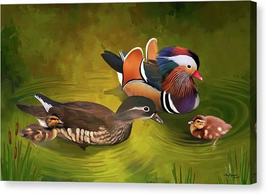 Mandarin Duck Family Canvas Print