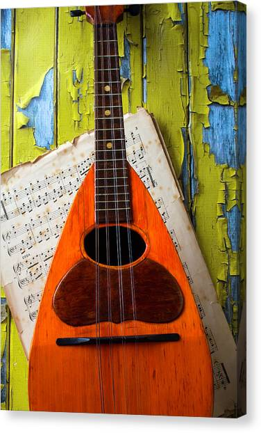 Mandolins Canvas Print - Mandolin And Old Sheet Music by Garry Gay