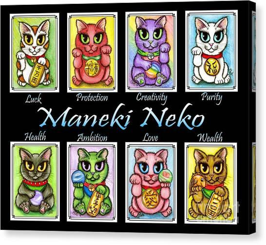 Maneki Neko Luck Cats Canvas Print