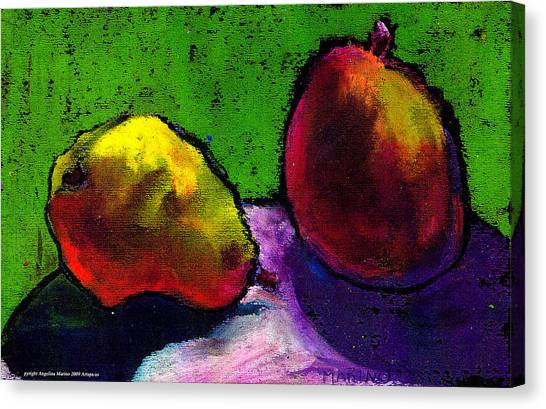 Mango And Pear Canvas Print by Angelina Marino