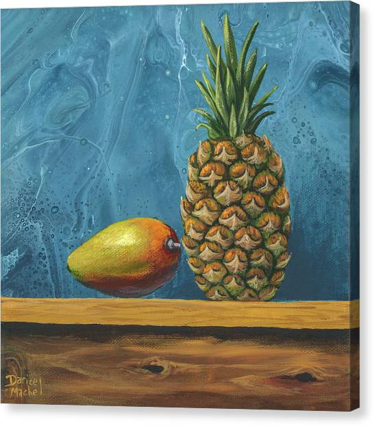 Canvas Print featuring the painting Mango And Pineapple by Darice Machel McGuire