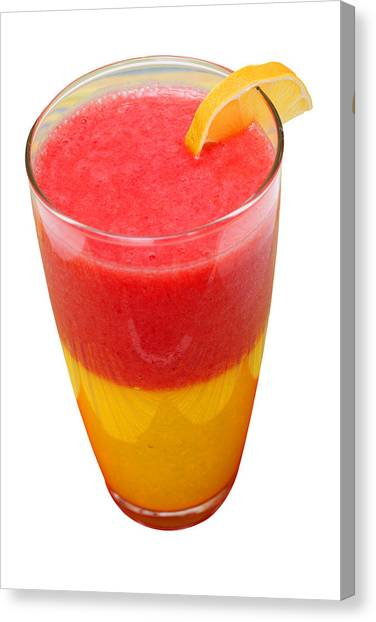 Smoothie Canvas Print - Mango Strawberry Smoothie by Donald  Erickson