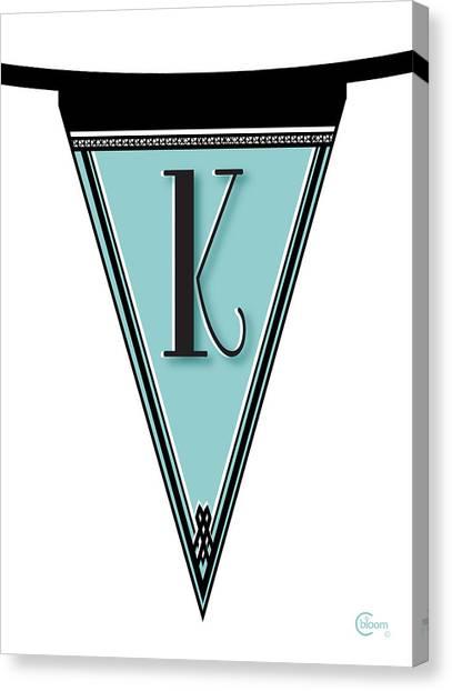 Pennant Deco Blues Banner Initial Letter K Canvas Print