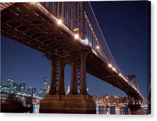 Manhattan And Brooklyn Bridges Canvas Print