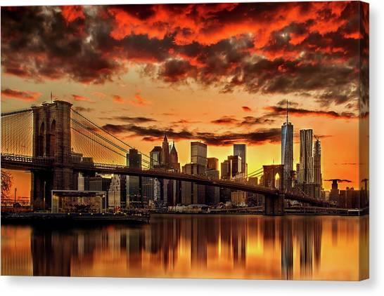 New York Skyline Canvas Print - Manhattan Bbq by Az Jackson