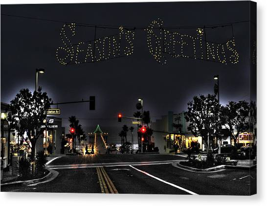 Manhattan Beach Christmas Canvas Print