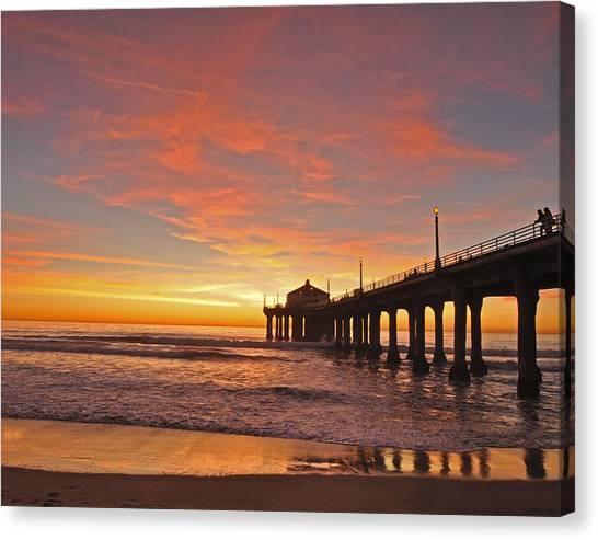 Beach Sunsets Canvas Print - Manhattan Beach Sunset by Matt MacMillan