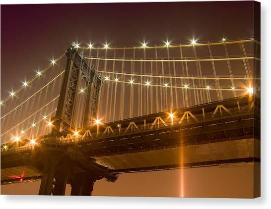 Manhattan Bridge At Night 1 Canvas Print