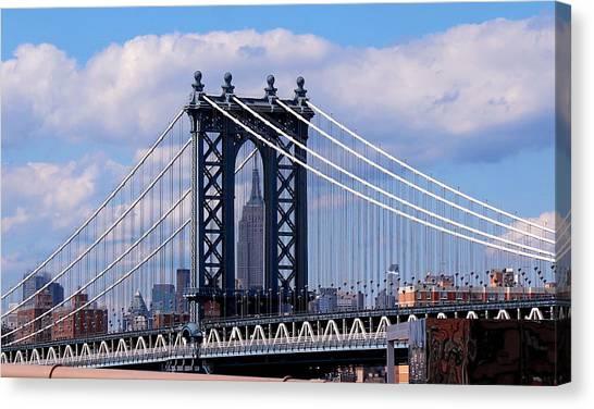 Manhattan Bridge Framing The Empire State Building Canvas Print