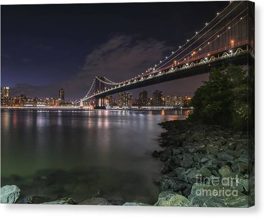 Manhattan Bridge Twinkles At Dusk Canvas Print