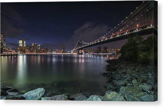 Manhattan Bridge Twinkles At Night Canvas Print