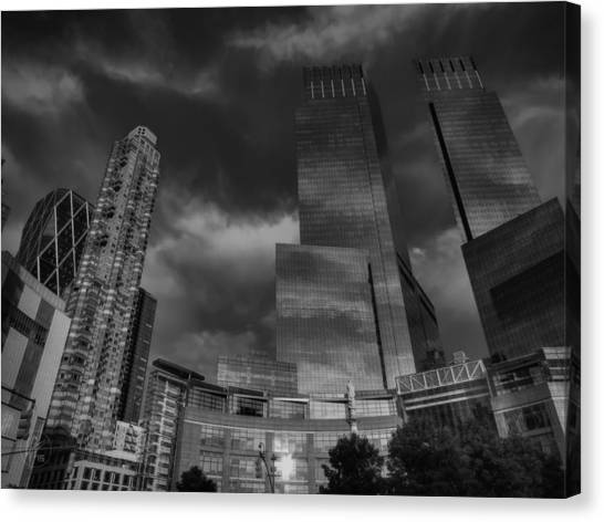 Warner Park Canvas Print - Manhattan - Columbus Circle 001 Bw by Lance Vaughn