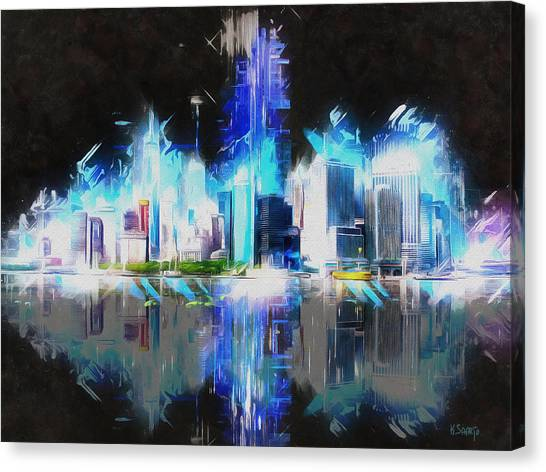 Manhattan Downtown Lights Canvas Print