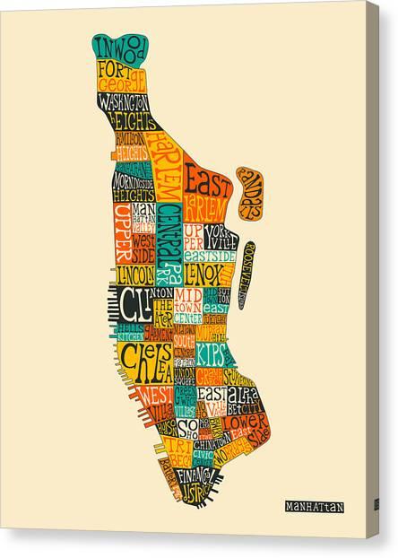 Manhattan Canvas Print - Manhattan Neighborhood Map Typography by Jazzberry Blue