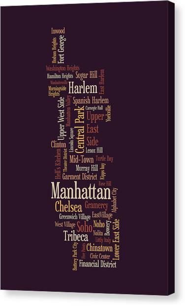 Manhattan Canvas Print - Manhattan New York Typographic Map by Michael Tompsett