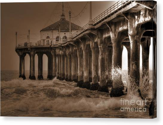 Manhattan Pier Splash Canvas Print