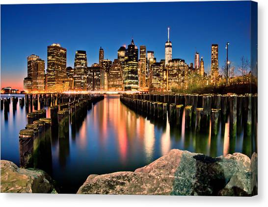 North American Canvas Print - Manhattan Skyline At Dusk by Az Jackson