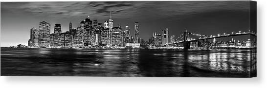 Manhattan Skyline At Dusk From Broklyn Bridge Park In Black And  Canvas Print