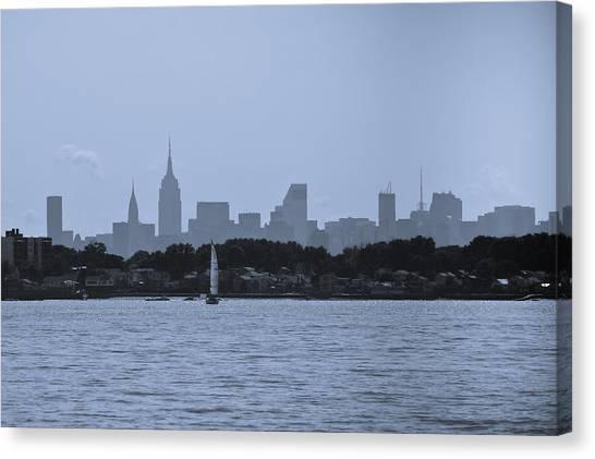 Manhattan Skyline From Syc 1 Canvas Print by Arthur Sa