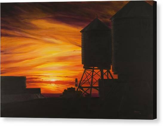 City Sunset Canvas Print - Manhattan Sunset by Christopher Oakley