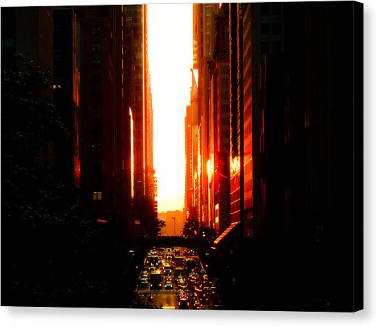 City Sunsets Canvas Print - Manhattanhenge Sunset Overlooking Times Square - Nyc by Vivienne Gucwa