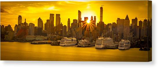 Manhattan's Ports At Sunrise Canvas Print