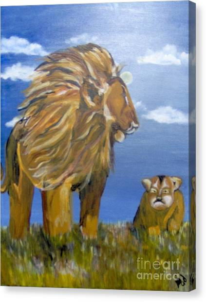 Canvas Print featuring the painting Manhood Training by Saundra Johnson