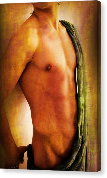 Bodybuilder Canvas Print - Manipulation In Yellow by Mark Ashkenazi