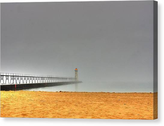 Manistee Light And Fog Canvas Print