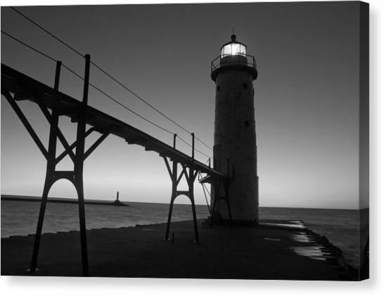Sun Set Canvas Print - Manistee Michigan Pier by Twenty Two North Photography