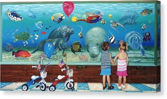 Manitee Aquarium With My Twins Canvas Print
