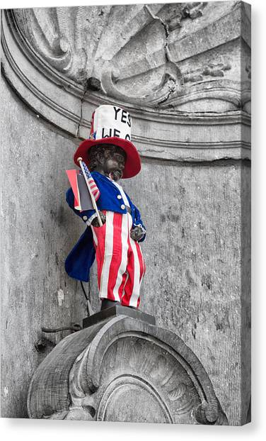 American Independance Canvas Print - Manneken Pis On The Fourth Of July by Georgia Fowler