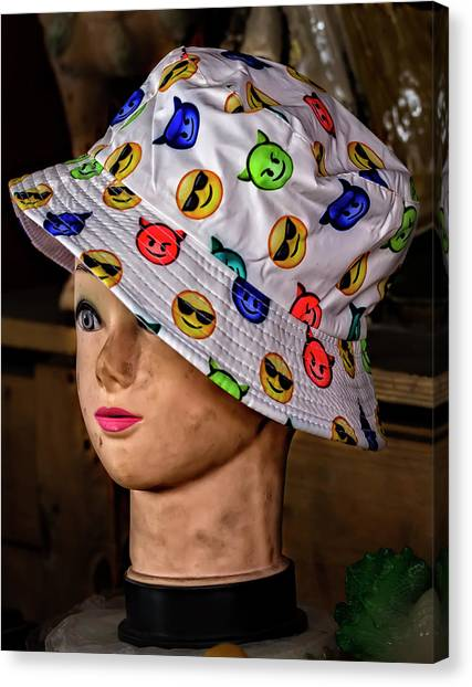Mannequin Head And Hat Canvas Print by Robert Ullmann