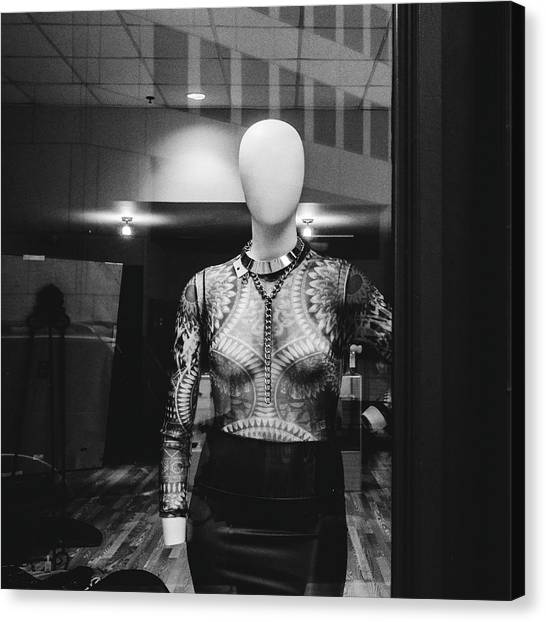 Mannequin In Window Canvas Print by Dylan Murphy