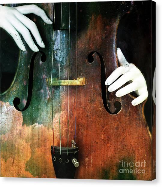 Manniquin On Cello  Canvas Print by Steven Digman