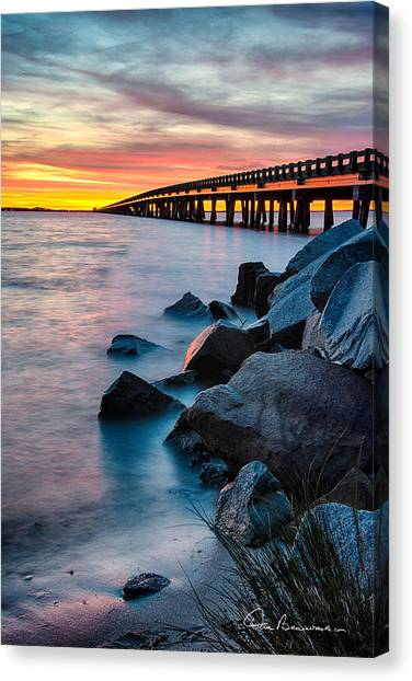 Manns Harbor Bridge Sunset 1127 Canvas Print