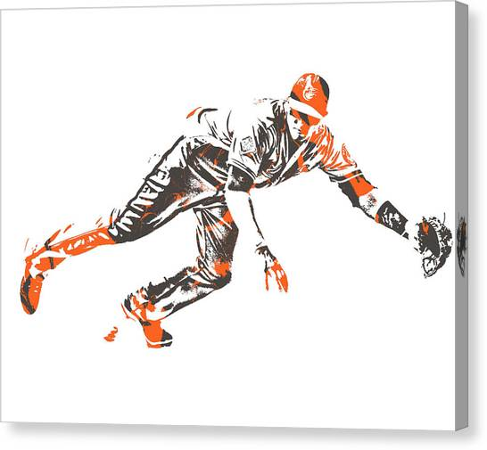 Orioles Canvas Print - Manny Machado Baltimore Orioles Pixel Art 10 by Joe Hamilton