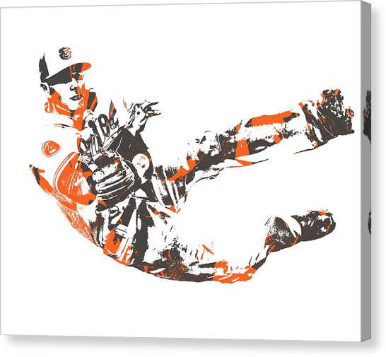 Orioles Canvas Print - Manny Machado Baltimore Orioles Pixel Art 11 by Joe Hamilton