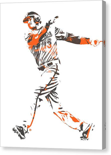 Orioles Canvas Print - Manny Machado Baltimore Orioles Pixel Art 12 by Joe Hamilton