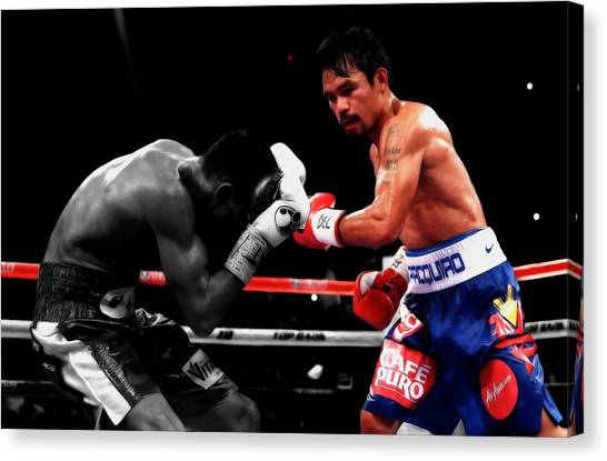 Floyd Mayweather Canvas Print - Manny Pacquiao And Chris Algieri by Brian Reaves